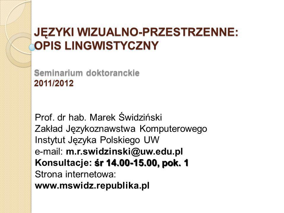 JĘZYKI WIZUALNO-PRZESTRZENNE: OPIS LINGWISTYCZNY Seminarium doktoranckie 2011/2012