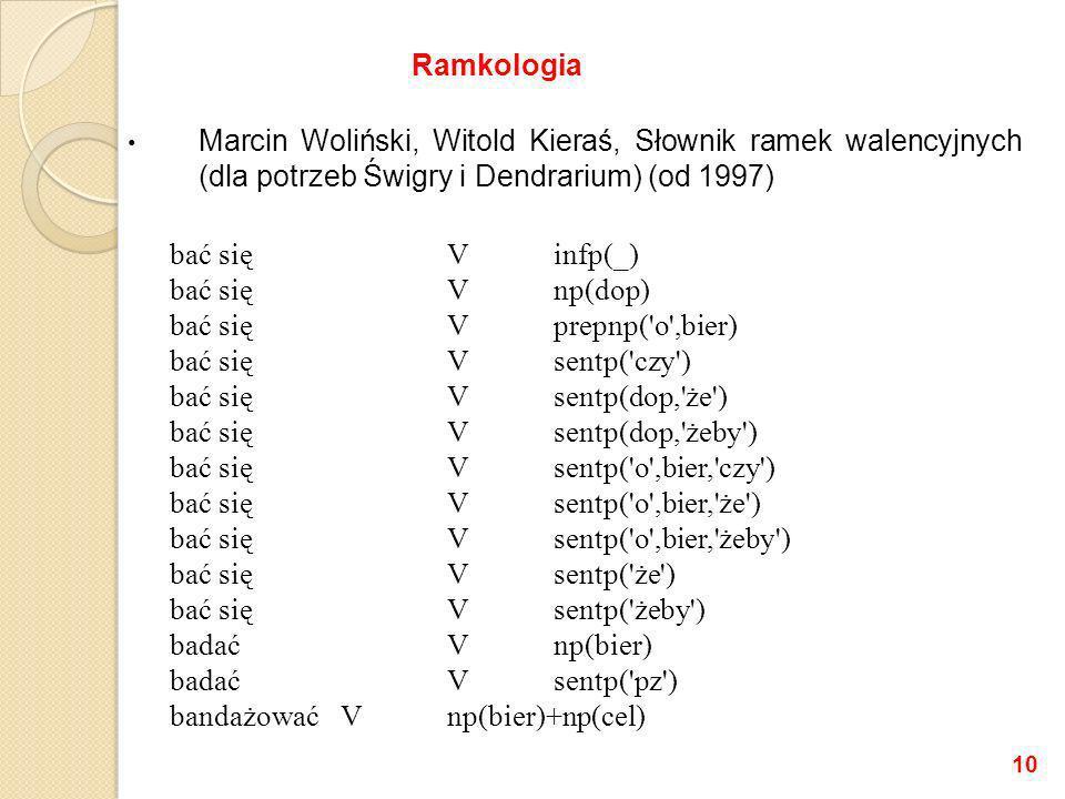 Ramkologia Marcin Woliński, Witold Kieraś, Słownik ramek walencyjnych (dla potrzeb Świgry i Dendrarium) (od 1997)