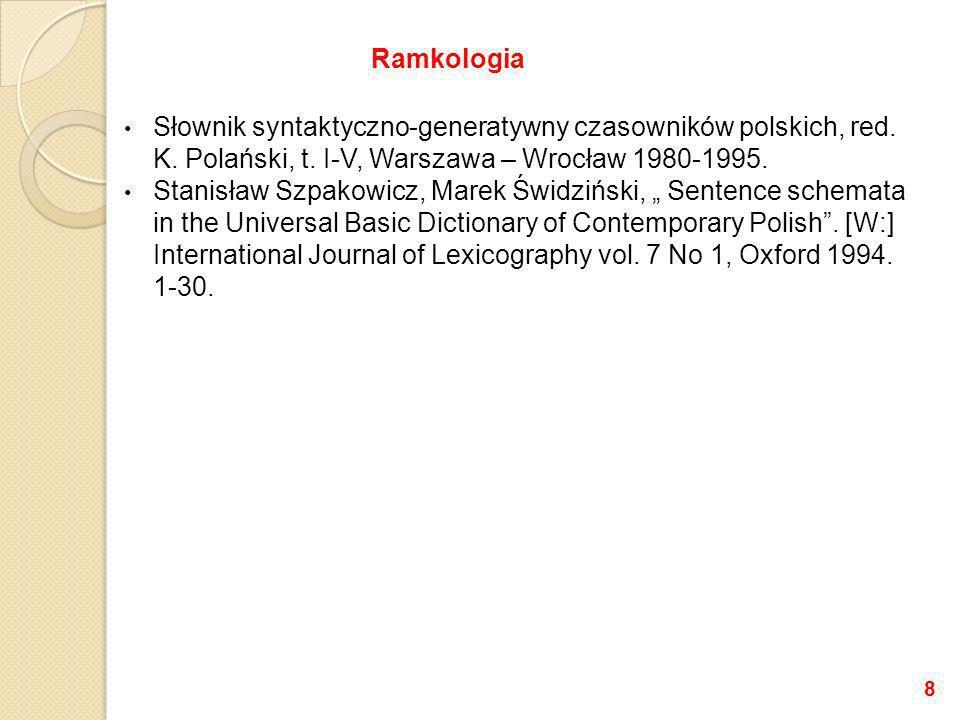 Ramkologia Słownik syntaktyczno-generatywny czasowników polskich, red. K. Polański, t. I-V, Warszawa – Wrocław 1980-1995.