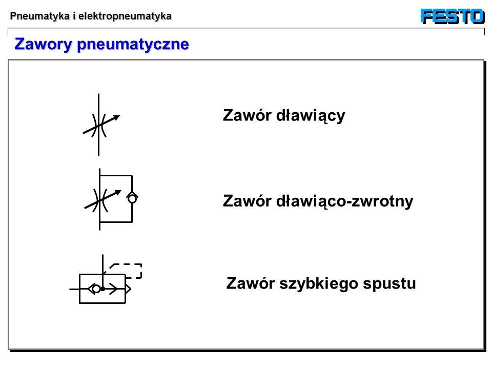 Zawory pneumatyczne Zawór dławiący Zawór dławiąco-zwrotny Zawór szybkiego spustu