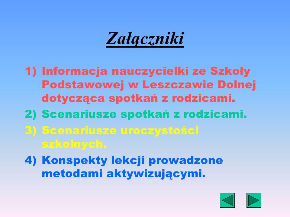 Załączniki Informacja nauczycielki ze Szkoły Podstawowej w Leszczawie Dolnej dotycząca spotkań z rodzicami.