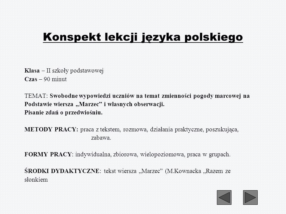 Konspekt lekcji języka polskiego