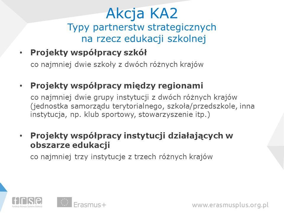 Akcja KA2 Typy partnerstw strategicznych na rzecz edukacji szkolnej