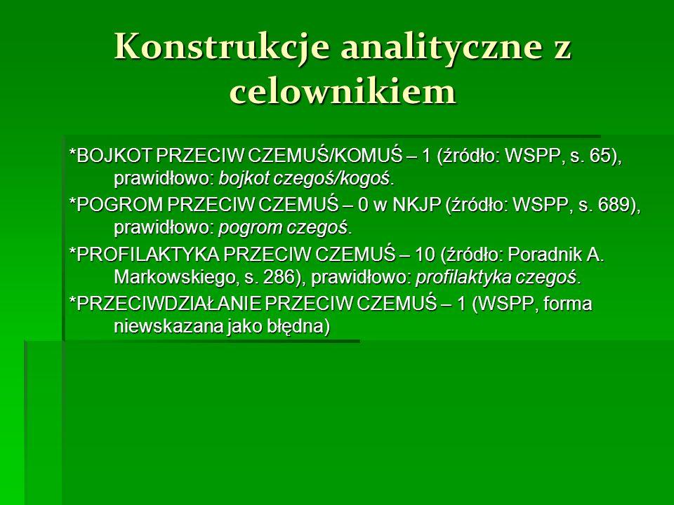 Konstrukcje analityczne z celownikiem