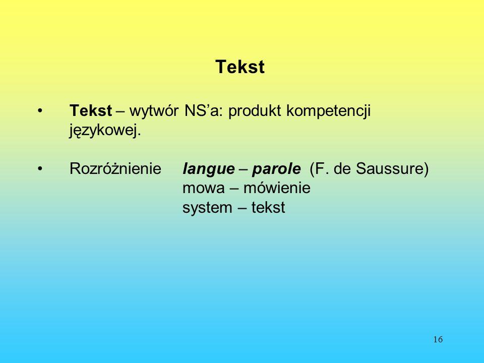 Tekst Tekst – wytwór NS'a: produkt kompetencji językowej.