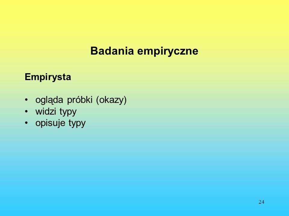 Badania empiryczne Empirysta ogląda próbki (okazy) widzi typy