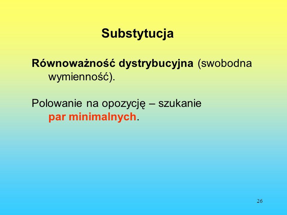 Substytucja Równoważność dystrybucyjna (swobodna wymienność).