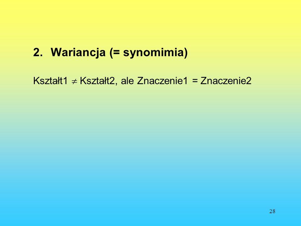 Wariancja (= synomimia)