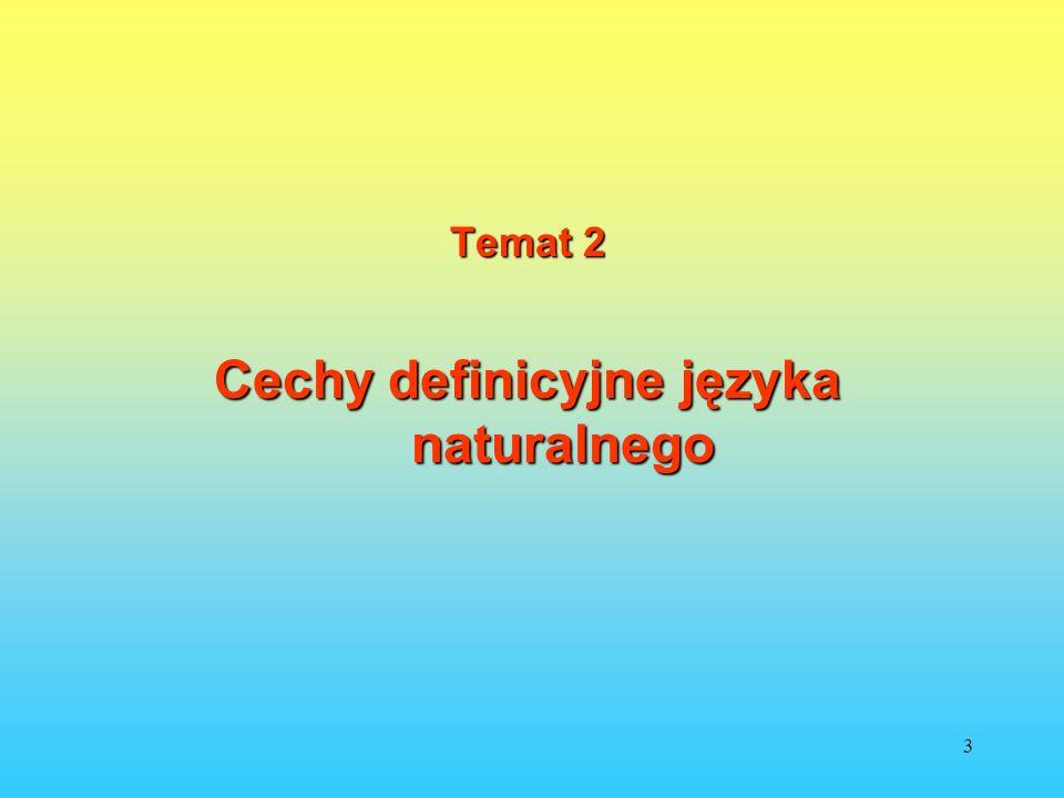 Cechy definicyjne języka naturalnego