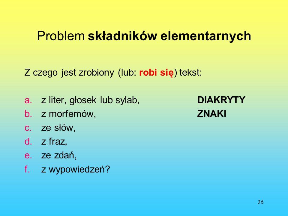 Problem składników elementarnych