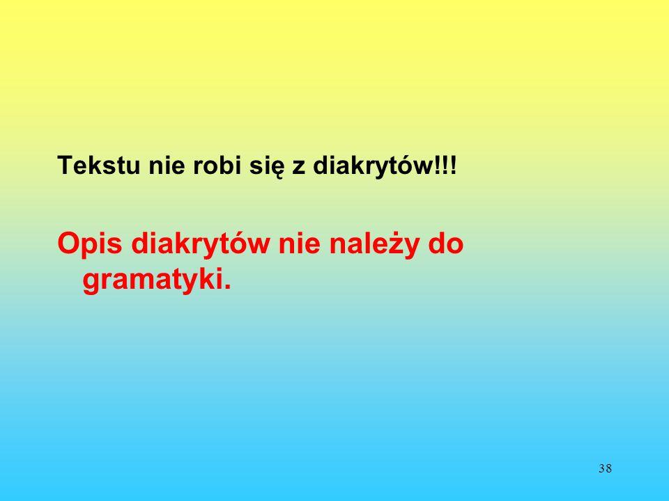 Opis diakrytów nie należy do gramatyki.