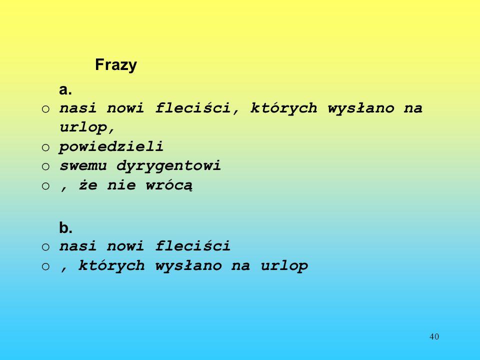 Frazy a. nasi nowi fleciści, których wysłano na urlop, powiedzieli