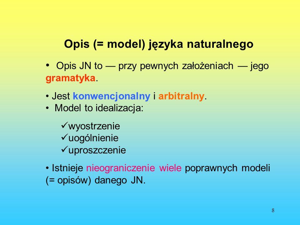 Opis (= model) języka naturalnego