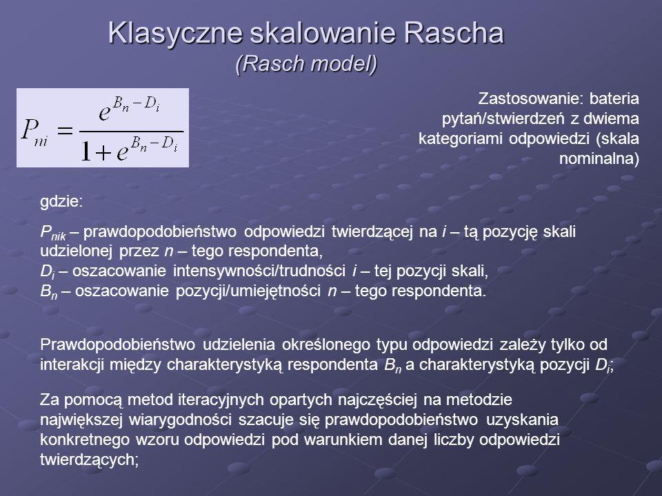 Klasyczne skalowanie Rascha (Rasch model)