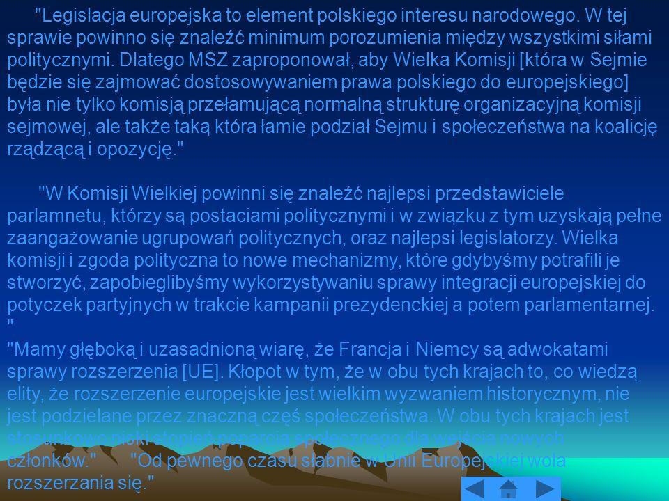 Legislacja europejska to element polskiego interesu narodowego
