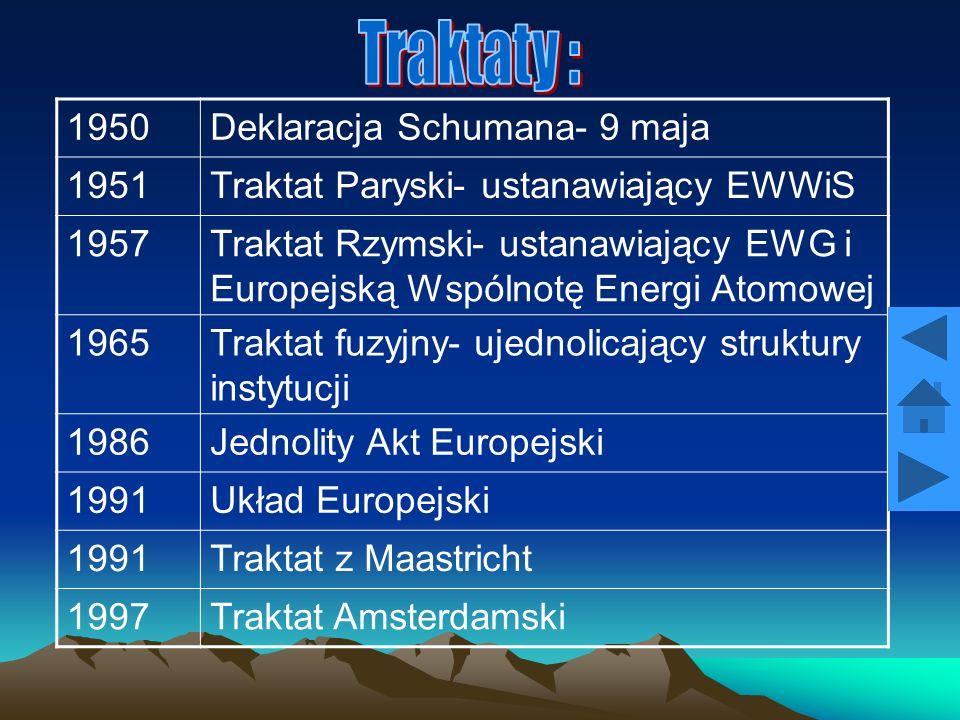 Traktaty : 1950 Deklaracja Schumana- 9 maja 1951