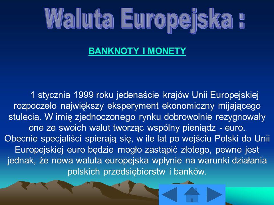 Waluta Europejska : BANKNOTY I MONETY
