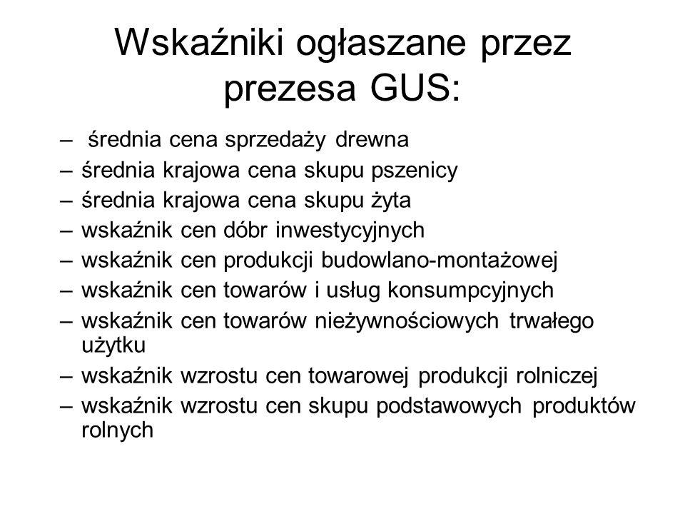 Wskaźniki ogłaszane przez prezesa GUS: