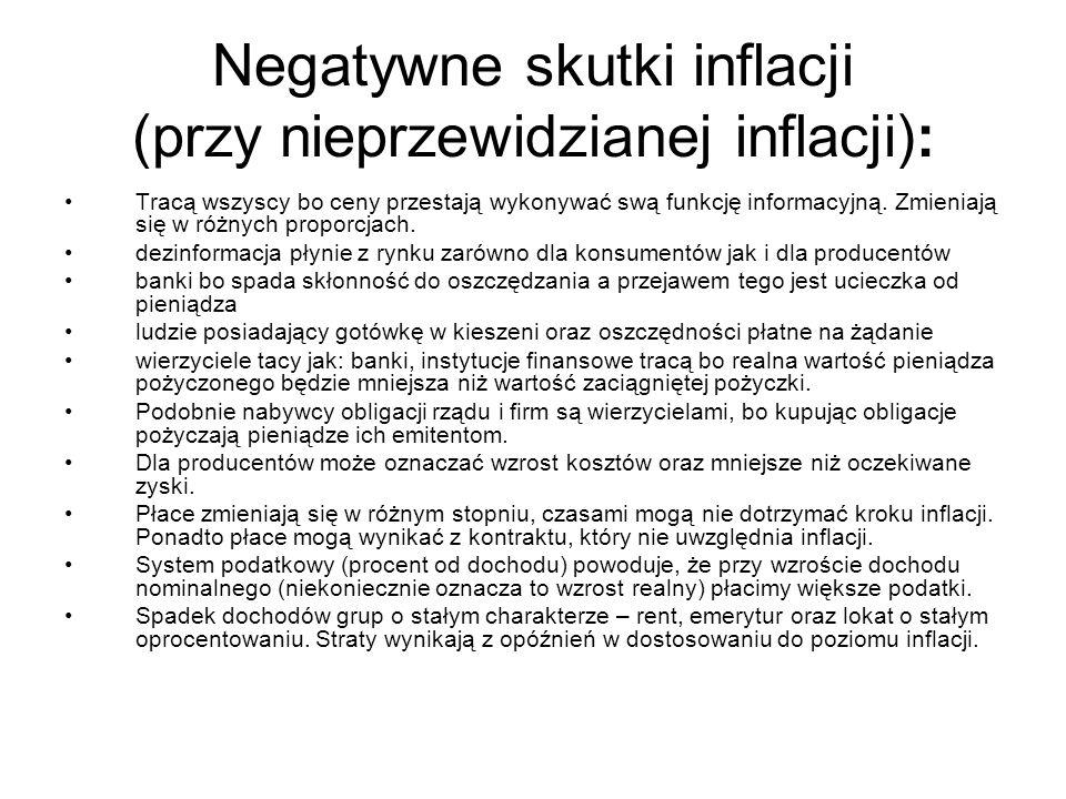 Negatywne skutki inflacji (przy nieprzewidzianej inflacji):