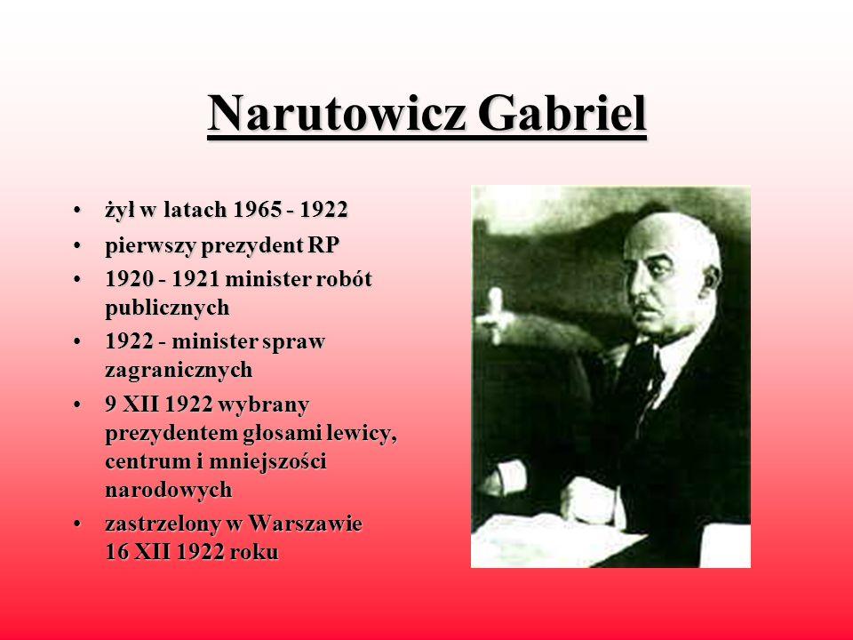 Narutowicz Gabriel żył w latach 1965 - 1922 pierwszy prezydent RP