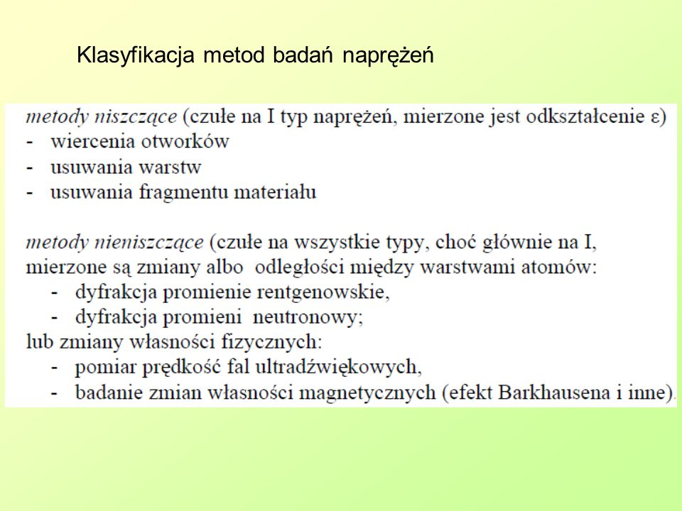 Klasyfikacja metod badań naprężeń
