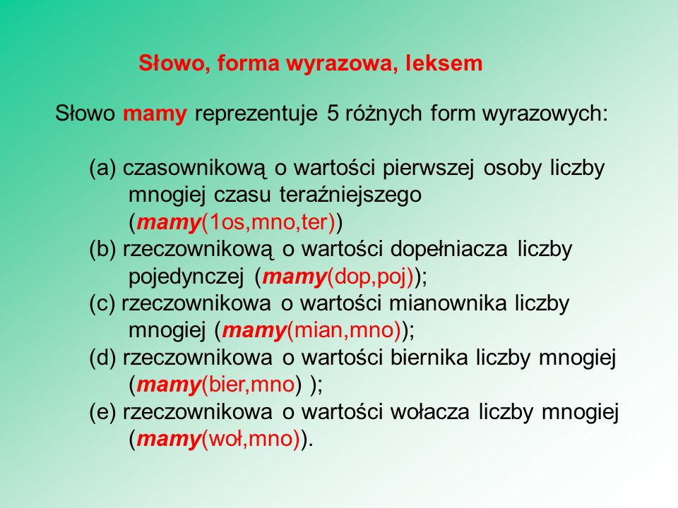 Słowo, forma wyrazowa, leksem