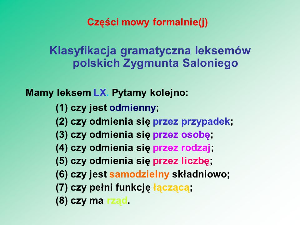 Części mowy formalnie(j)