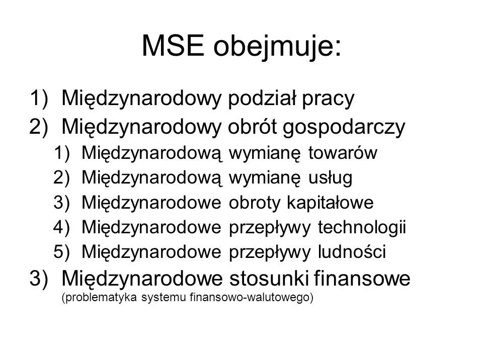 MSE obejmuje: Międzynarodowy podział pracy
