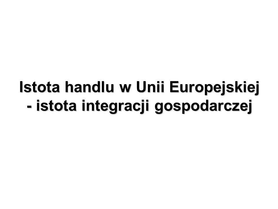 Istota handlu w Unii Europejskiej - istota integracji gospodarczej