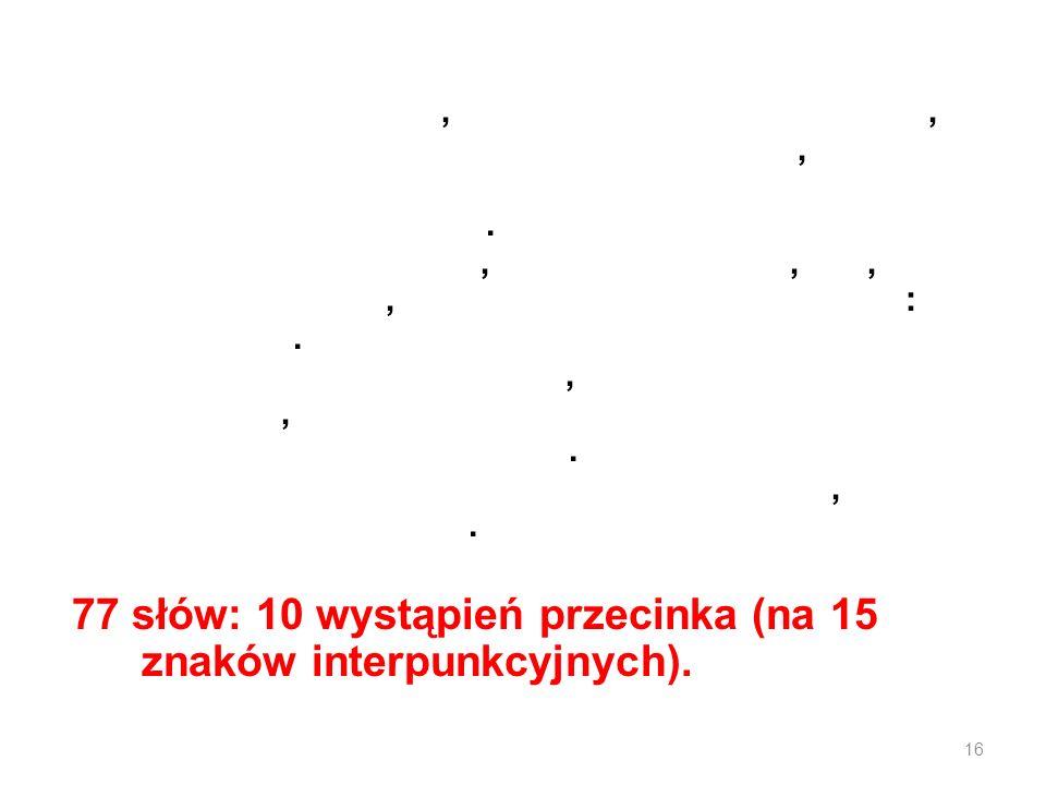 77 słów: 10 wystąpień przecinka (na 15 znaków interpunkcyjnych).