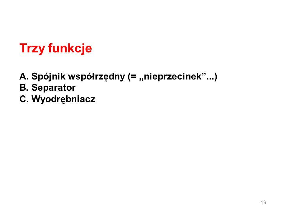 """Trzy funkcje A. Spójnik współrzędny (= """"nieprzecinek ...) B. Separator"""