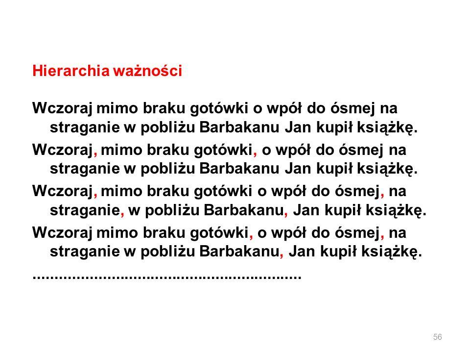 Hierarchia ważności Wczoraj mimo braku gotówki o wpół do ósmej na straganie w pobliżu Barbakanu Jan kupił książkę.