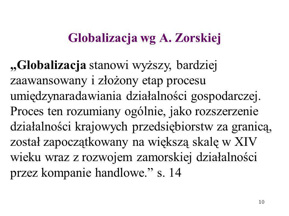 Globalizacja wg A. Zorskiej