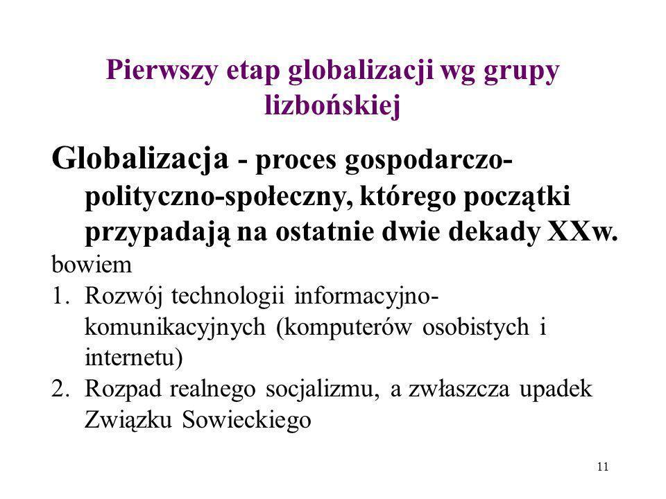 Pierwszy etap globalizacji wg grupy lizbońskiej