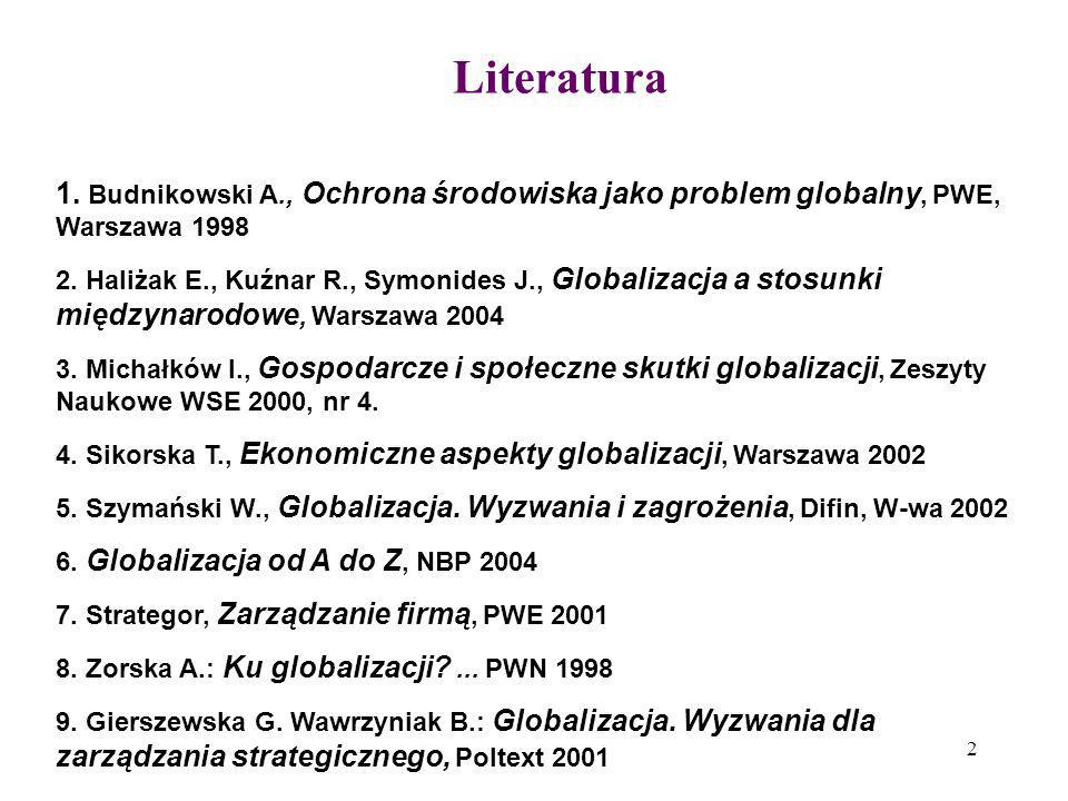 Literatura 1. Budnikowski A., Ochrona środowiska jako problem globalny, PWE, Warszawa 1998.