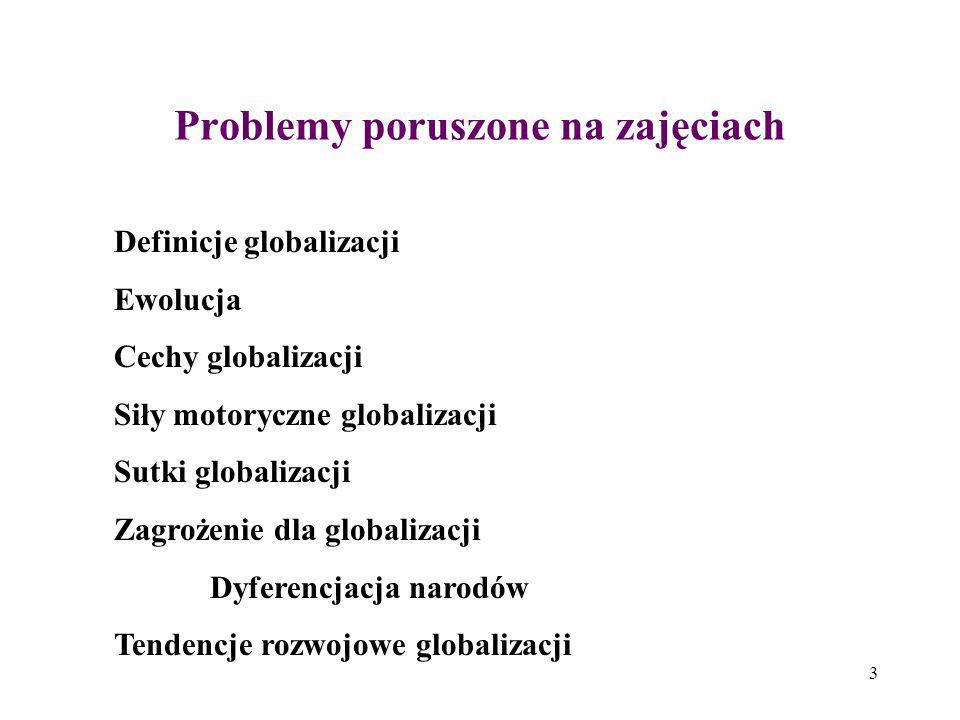 Problemy poruszone na zajęciach