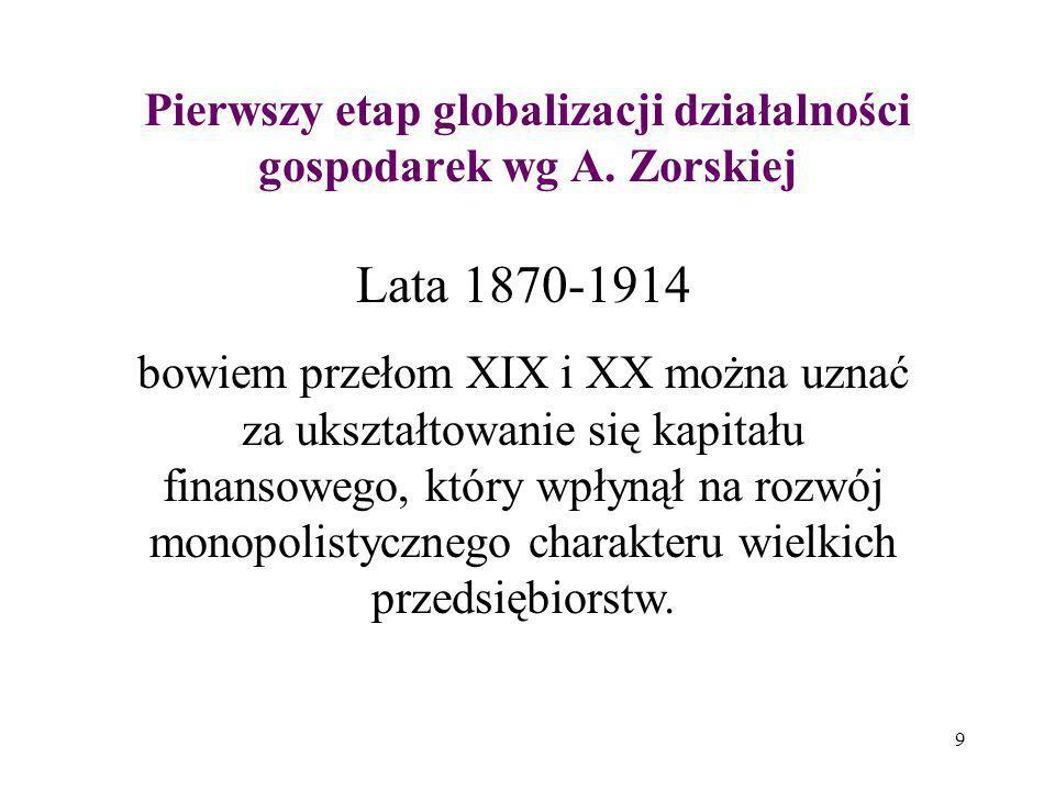 Pierwszy etap globalizacji działalności gospodarek wg A. Zorskiej