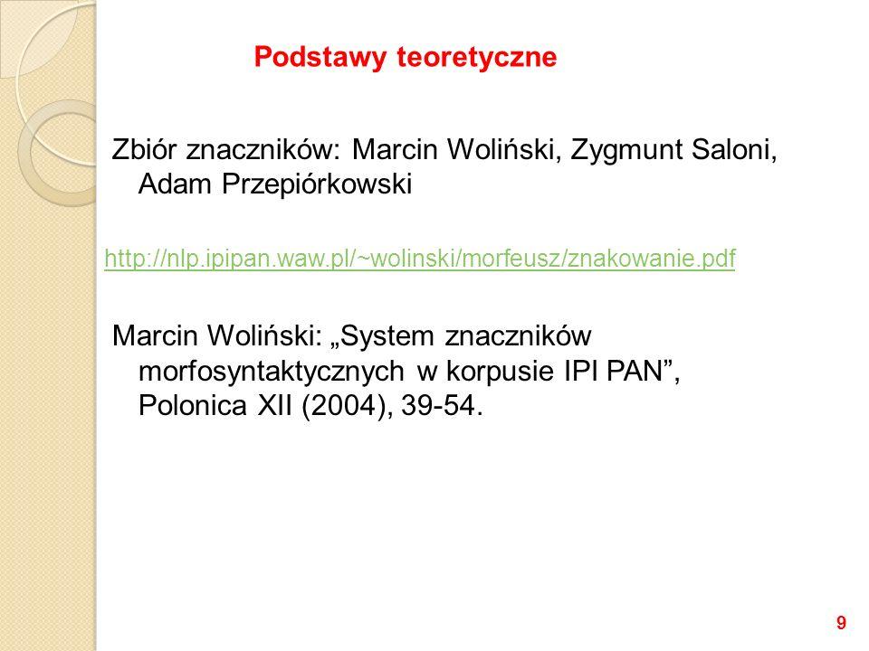 Zbiór znaczników: Marcin Woliński, Zygmunt Saloni, Adam Przepiórkowski