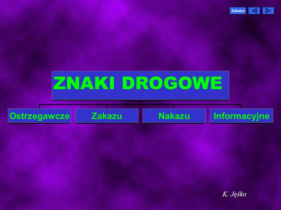 Zakończ ZNAKI DROGOWE Ostrzegawcze Zakazu Nakazu Informacyjne K. Jęśko