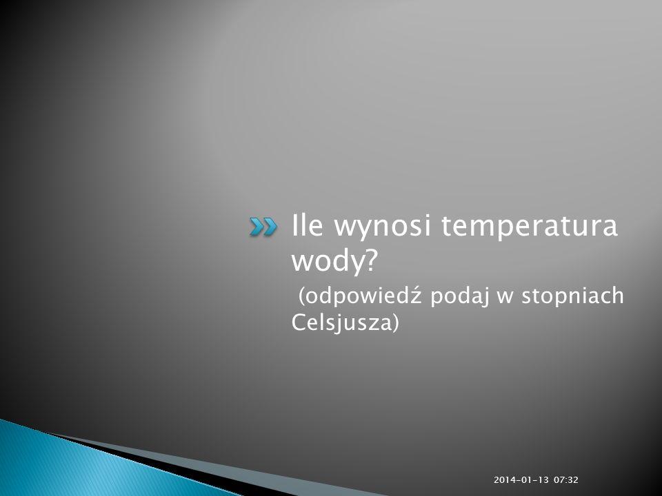 Ile wynosi temperatura wody