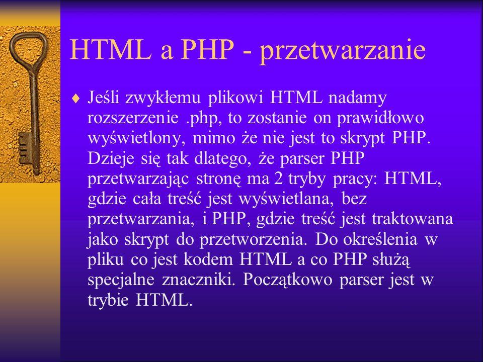 HTML a PHP - przetwarzanie