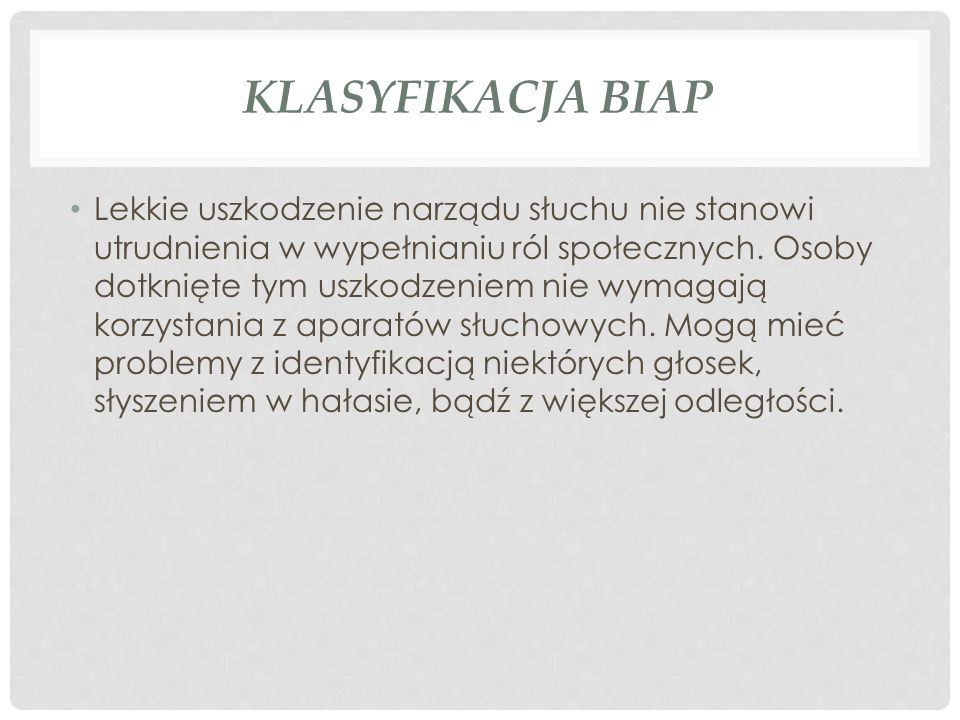 Klasyfikacja BiAP