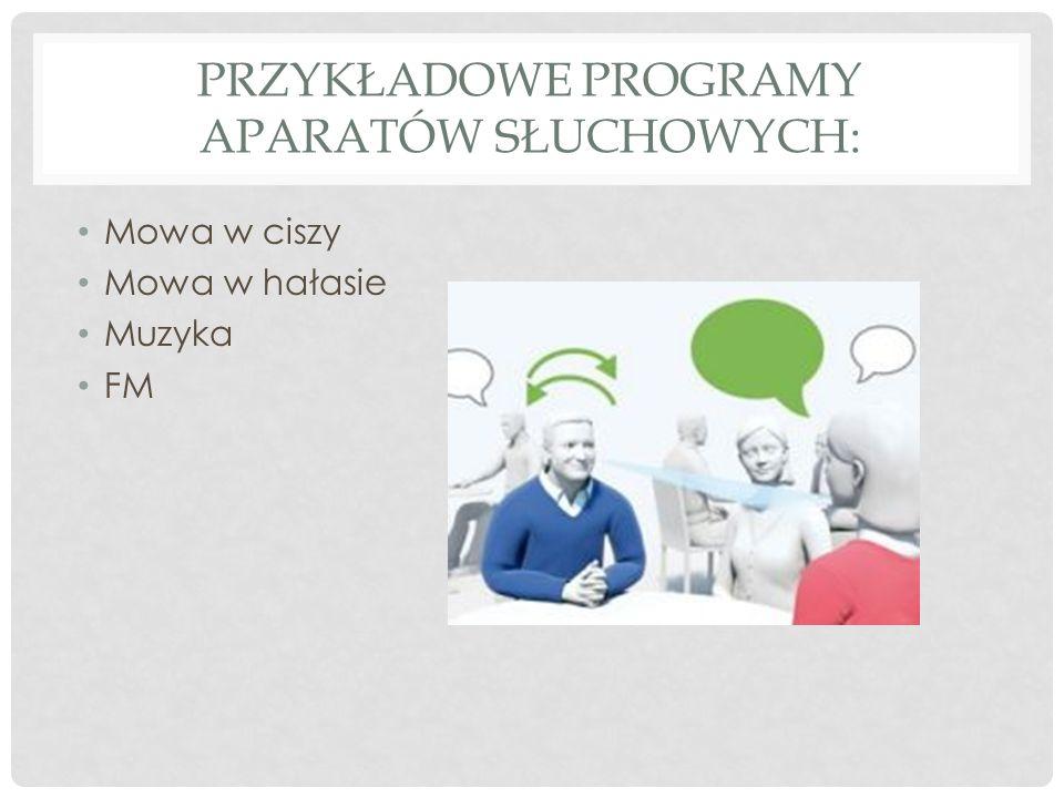 Przykładowe programy aparatów słuchowych: