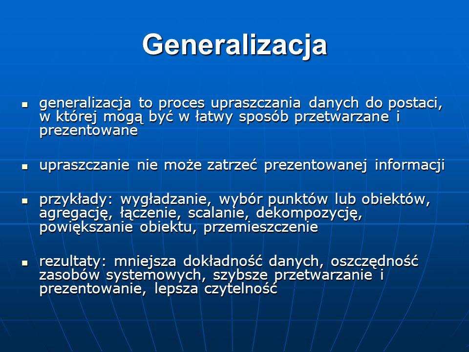 Generalizacjageneralizacja to proces upraszczania danych do postaci, w której mogą być w łatwy sposób przetwarzane i prezentowane.