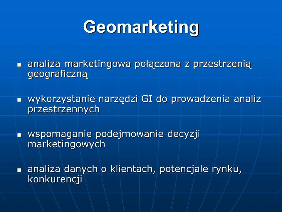 Geomarketinganaliza marketingowa połączona z przestrzenią geograficzną. wykorzystanie narzędzi GI do prowadzenia analiz przestrzennych.