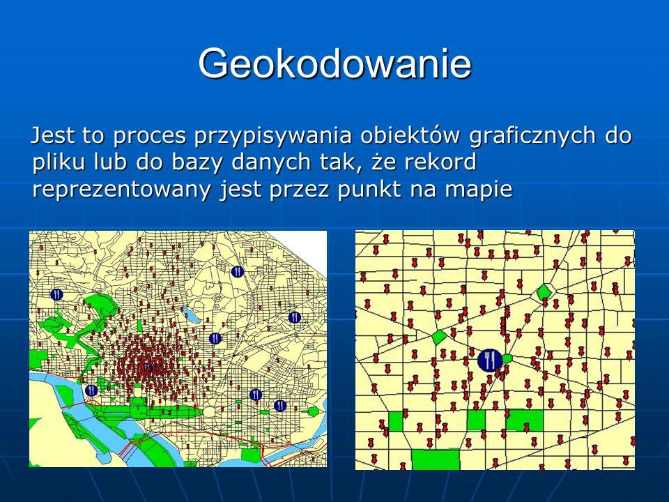 GeokodowanieJest to proces przypisywania obiektów graficznych do pliku lub do bazy danych tak, że rekord reprezentowany jest przez punkt na mapie.