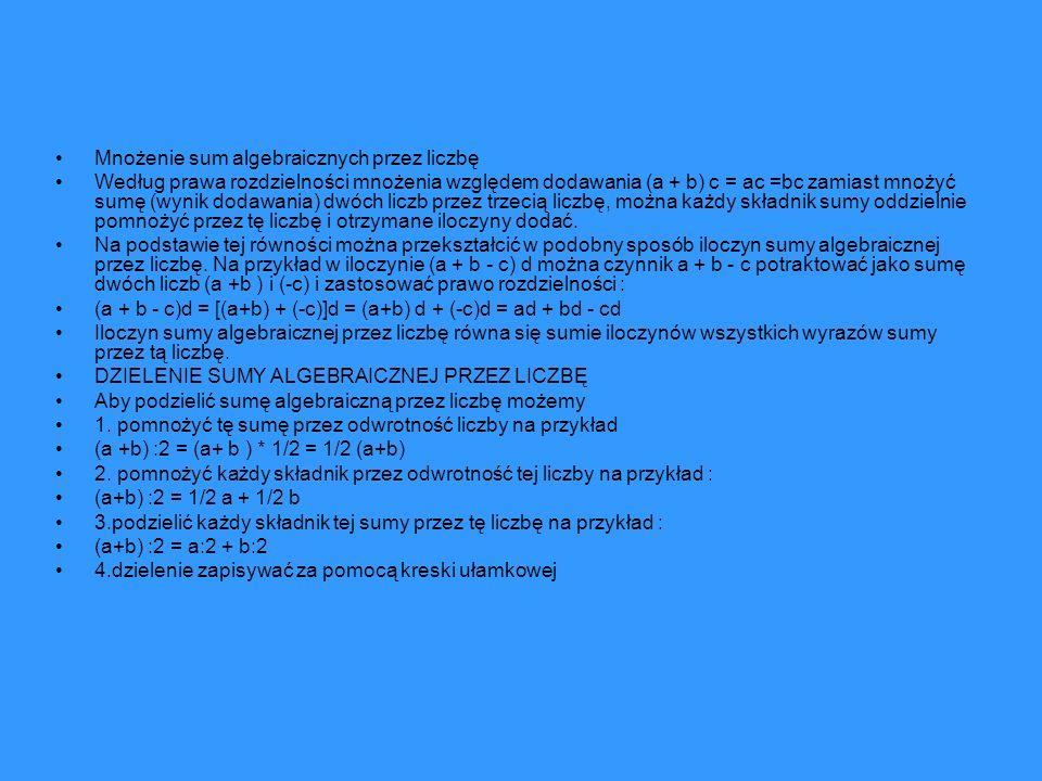 Mnożenie sum algebraicznych przez liczbę