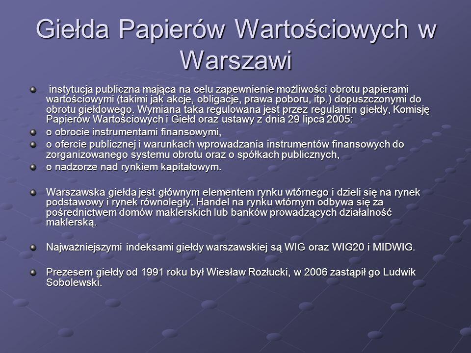 Giełda Papierów Wartościowych w Warszawi