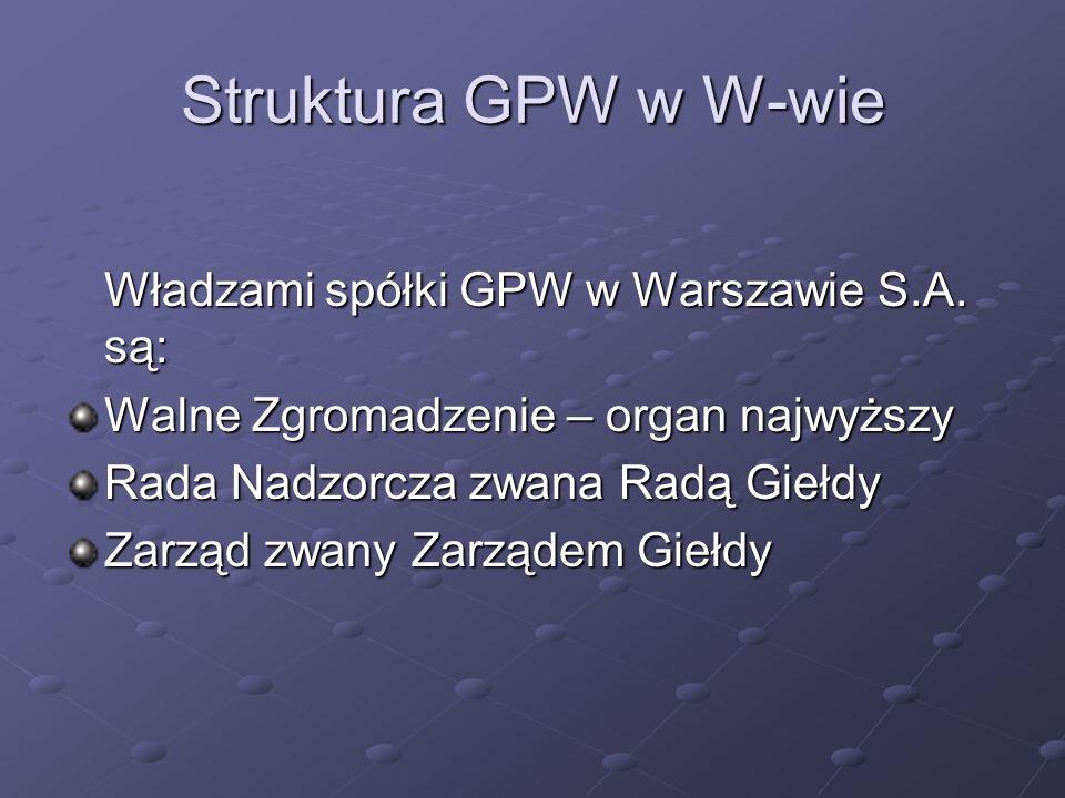 Struktura GPW w W-wie Władzami spółki GPW w Warszawie S.A. są: