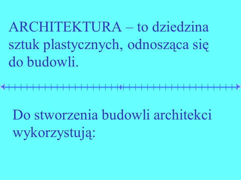 ARCHITEKTURA – to dziedzina sztuk plastycznych, odnosząca się do budowli.